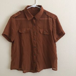 Forever 21 Sheer Brown Button Up